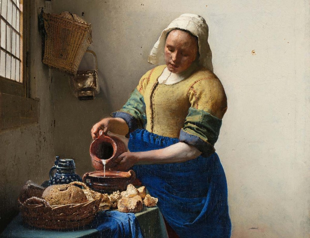 Was she an immigrant? Most servants in Holland's Golden Age were. (Vermeer, The Milkmaid, Amsterdam Rijksmuseum, ca 1660)