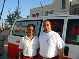 Ambulance paramedics Feras Samara (right) and his colleague Basem Sadaka