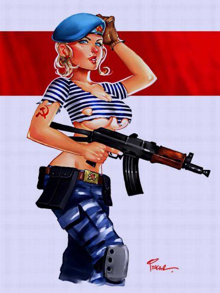 рисованые вооруженые девушки