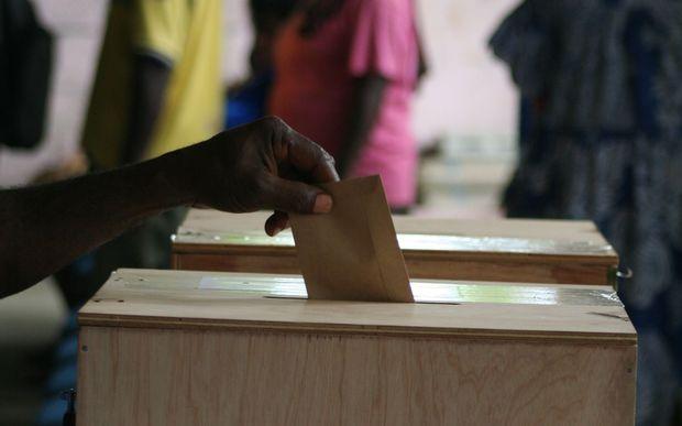 Ballot box in a Vanuatu election.