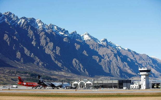 Queenstown Airport against the backdrop of The Remarkables mountain range.