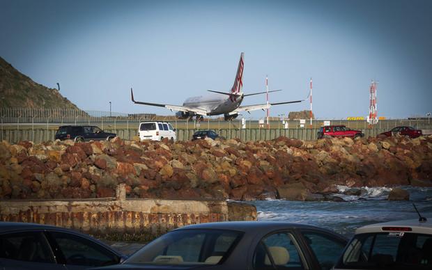 Virgin plane landing in Wellington Airport.