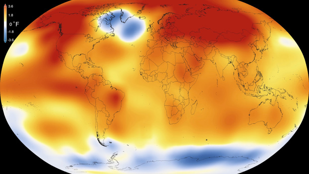 NASA illustration showing 2015 was the warmest year since modern record-keeping began in 1880.