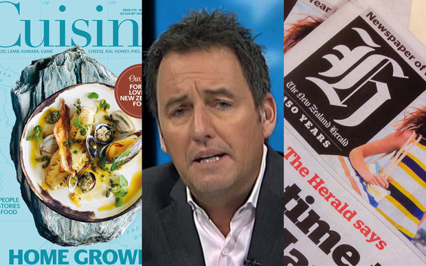 The Fairfax-published Cusine magazine, left, NZME-owned ZB presenter Mike Hosking, centre, and the New Zealand Herald, published by NZME.