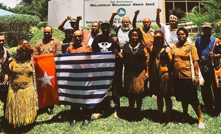 United Liberation Movement for West Papua representatives outside the Melanesian Spearhead Group secretariat, 20 December 2016.