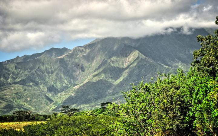 Lush green mountains on Kauai, Hawaii