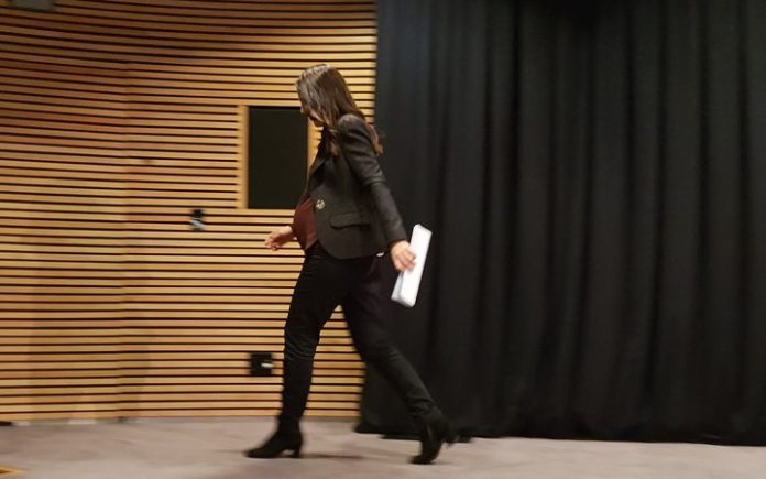 Prime Minister Jacinda Ardern leaves her last post cab press conference before she gives birth.