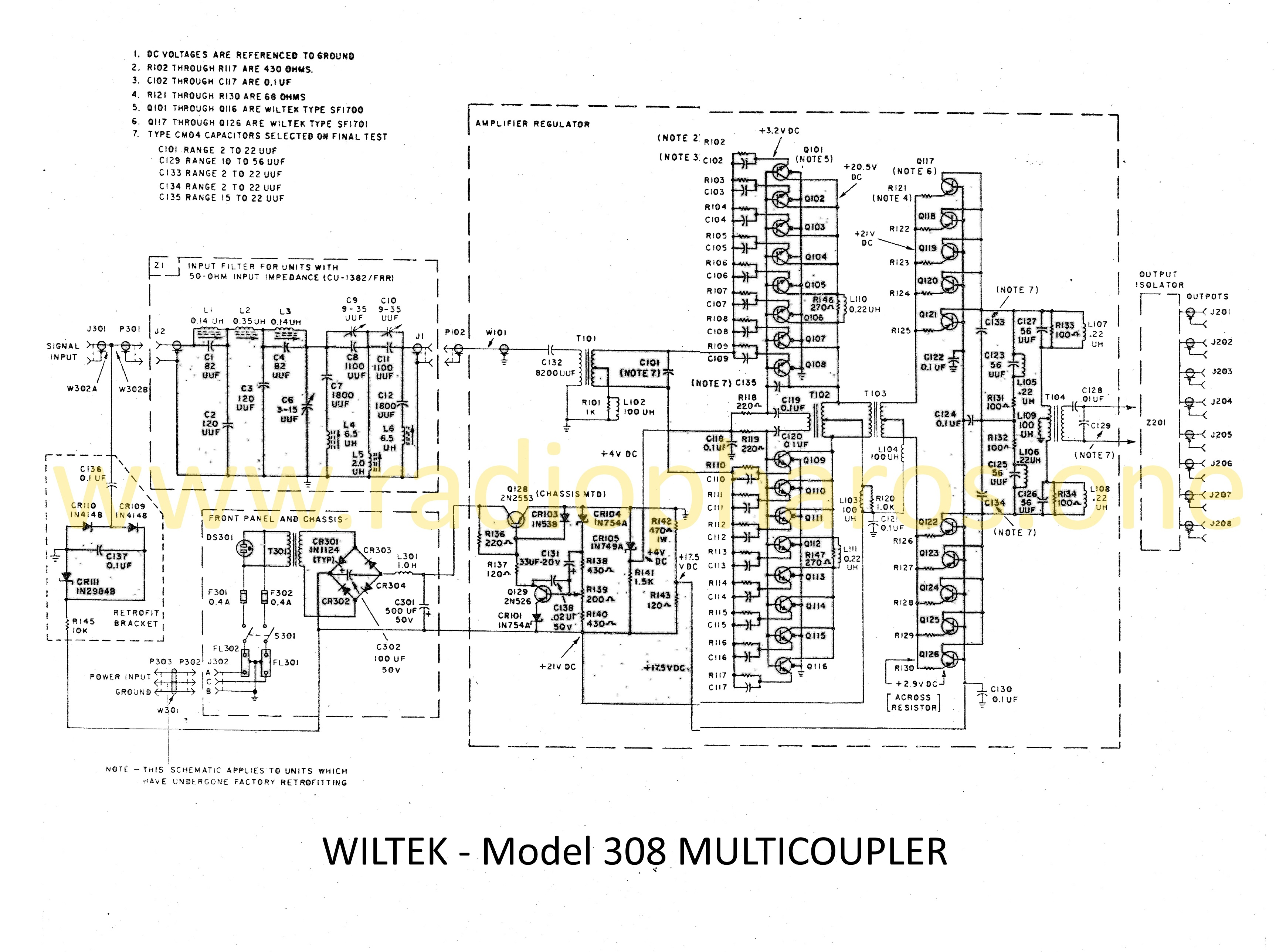 Model 308 Multicoupler Schematic