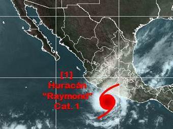El huracán Raymond, ubicado en el Océano Pacífico, se degradó a categoría 1 en la escala Saffir-Simpson