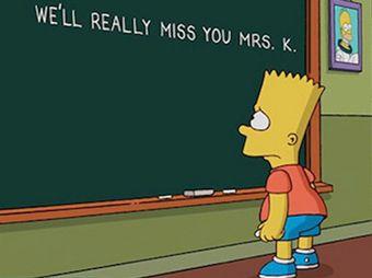 """Bart Simpson rinde homenaje y se despide de la """"Maestra Krabappel"""""""