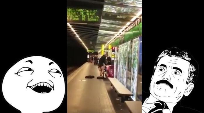 Captan a pareja teniendo sexo en el metro de Barcelona 😅