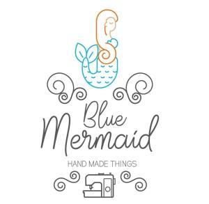 """logo de """"Blue Mermaid"""" - créations couture, par Morgane Eliet"""