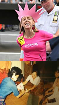 Top: CODE PINK founder, Medea Benjamin Bottom: Saw Myat Mar with Nobel Prize laureate, Daw Aung San Suu Kyi. Sources: Top: Sharon Hughes, sharonhughes.townhall.com. Bottom: Saw Myat Mar