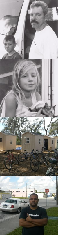 From top left: 1. David and Yanni; 3. Enya and her kitten; 4. Pinellas Hope residents bikes in front of casitas used to transition clients into more stable housing; 6. Max Rameau.  Source:  1-2: Blair H. Wells. 3-4: Andrew Stelzer