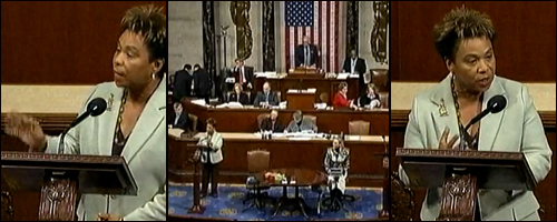Barbara Lee speaks out against the Stupak Amendment during health care reform negotiations in the House, November, 2009.