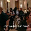 Members of the Brass Liberation Orchestra doing a flash mob action at a San Francisco Hotel. Credit: Pride at Work
