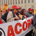 ACORN members banded together in front of the U.S. Treasury, Thurs. March 11 2008.