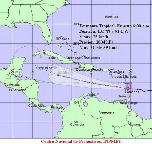 Tormenta tropical Ernesto, 06:a.m. - 3 de agosto de 2012. Instituto de Meteorología de Cuba