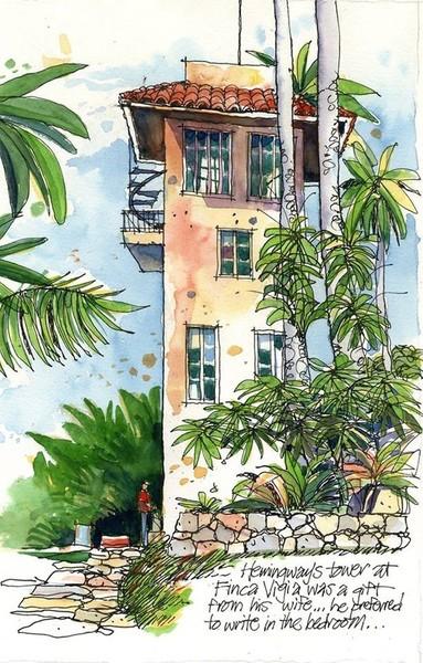 La cuba de Hemingway en Acuarelas, del pintor norteamericano James Richards.