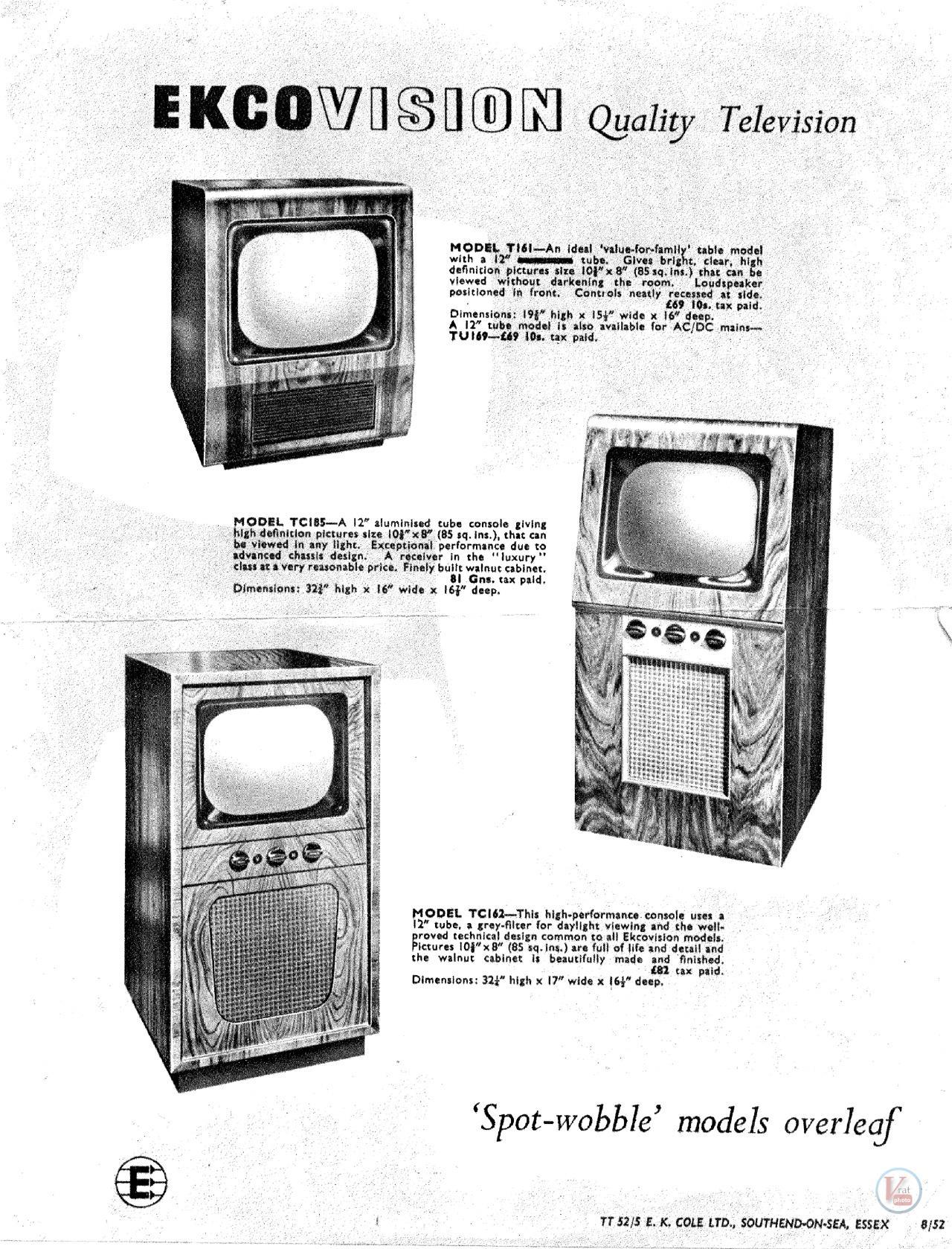 Ekco B Amp W Tv S Radios Tv