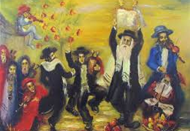 Simkhes Toyre in a shtetl