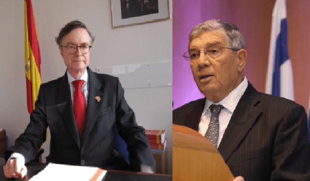 El presidente del Museo del Holocausto Yad Vashem recibe la Orden del Mérito Civil, con el embajador de España en Israel Fernando Carderera