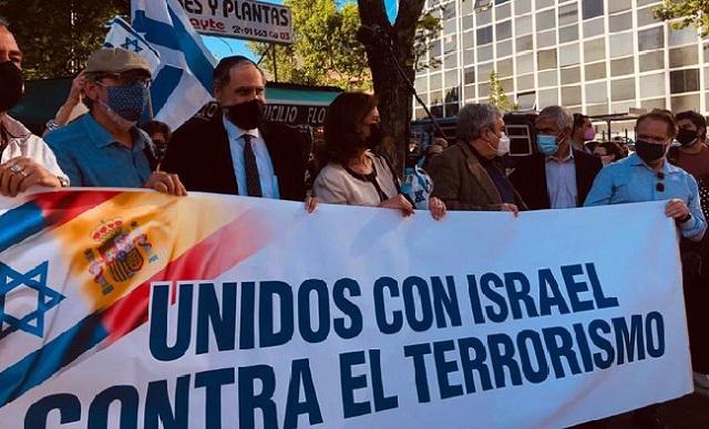 Concentración de apoyo a Israel frente a su Embajada en Madrid