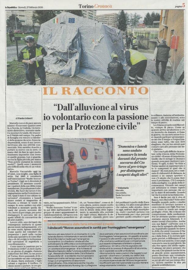 (FOTO 3) Articolo - Radio soccorso è impegnato nel montaggio delle tende pre-triage al C.T.O. di Torino