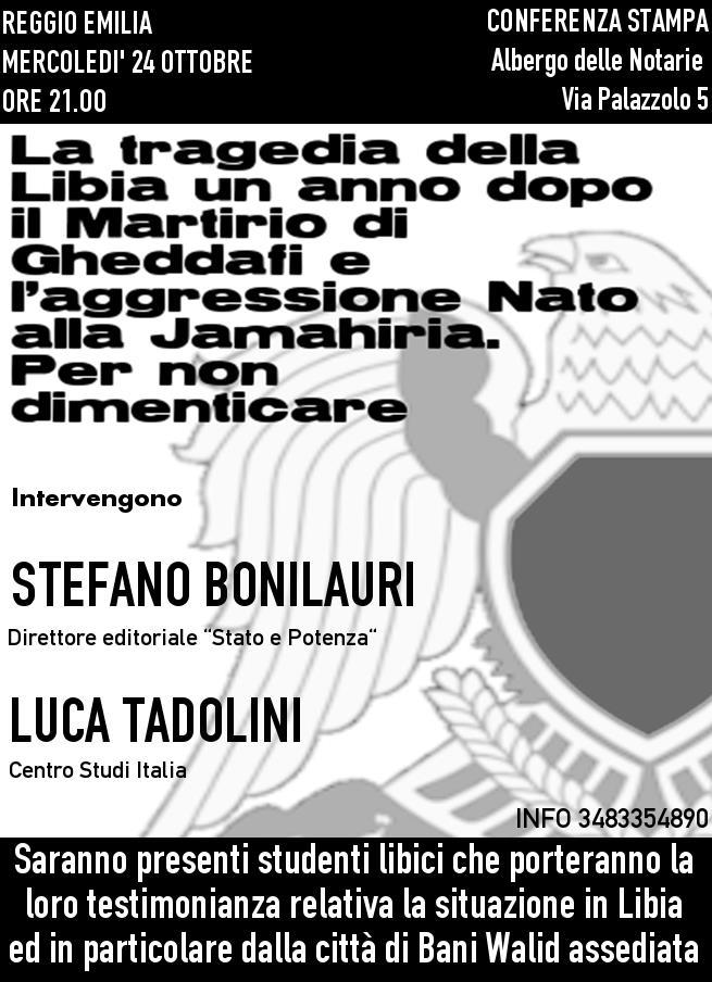 Reggio Emilia, 24 ottobre 2012: la tragedia della Libia un anno dopo