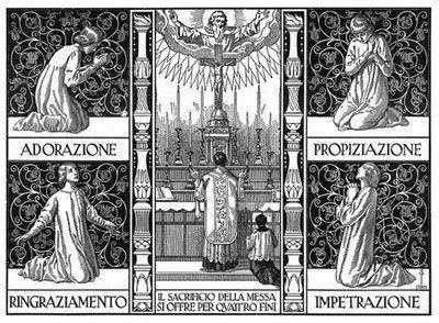 Un'immagine che spiega i 4 Fini della Santa Messa.