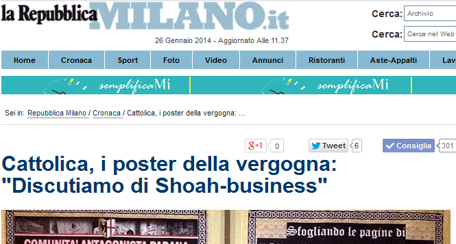 La storica Foa su Repubblica: 'Chi parla di shoah-business richiama elementi di realtà'