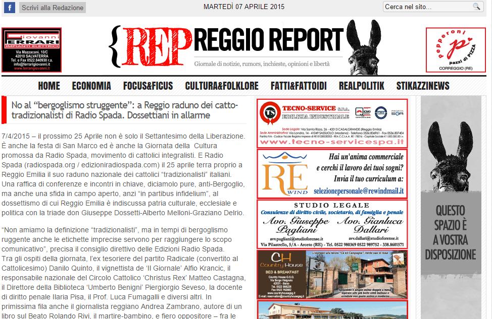 Reggio Report: giornata radiospadista del 25 aprile, 'dossettiani in allarme'