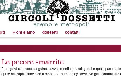 Gli ultraprogressisti dossettiani tifano per l'accordo Bergoglio-FSSPX: 'verranno recintati'