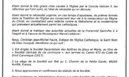 Nasce la 'Società Sacerdotale degli Apostoli di Gesù e Maria'. Eretta con decreto di Mons. Faure per 'combattere il modernismo'