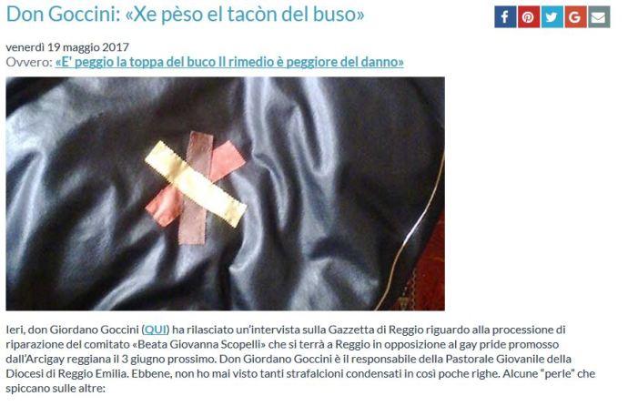Militia Christi aderisce e 'Cultura Cattolica' deplora don Goccini: 'Mai tanti strafalcioni condensati in così poche righe'