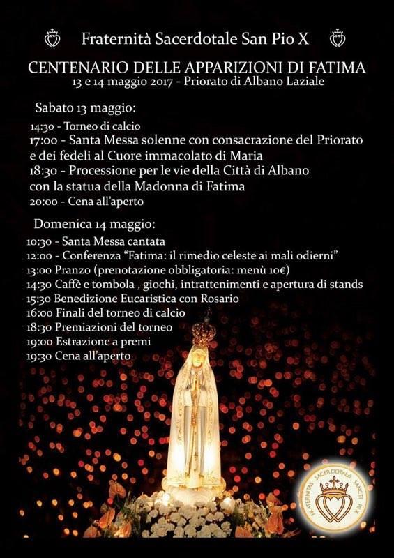 [FSSPX] Centenario delle apparizioni di Fatima al priorato di Albano
