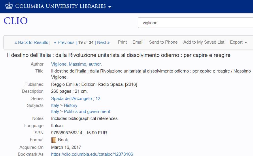 'Il destino dell'Italia' di M. Viglione (Ed. Radio Spada) acquisito in 20 tra le principali biblioteche universitarie del mondo