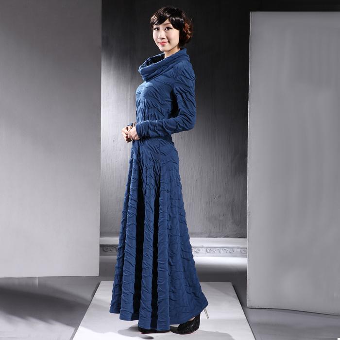 2014-Spring-Women-s-Turtleneck-full-length-Maxi-font-b-dress-b-font-Long-sleeve-casual