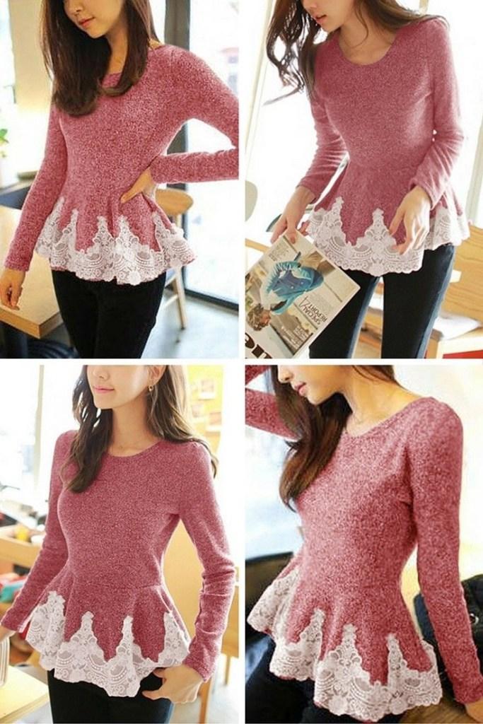 Una maglia svasata che sembra un vestitino in miniatura.
