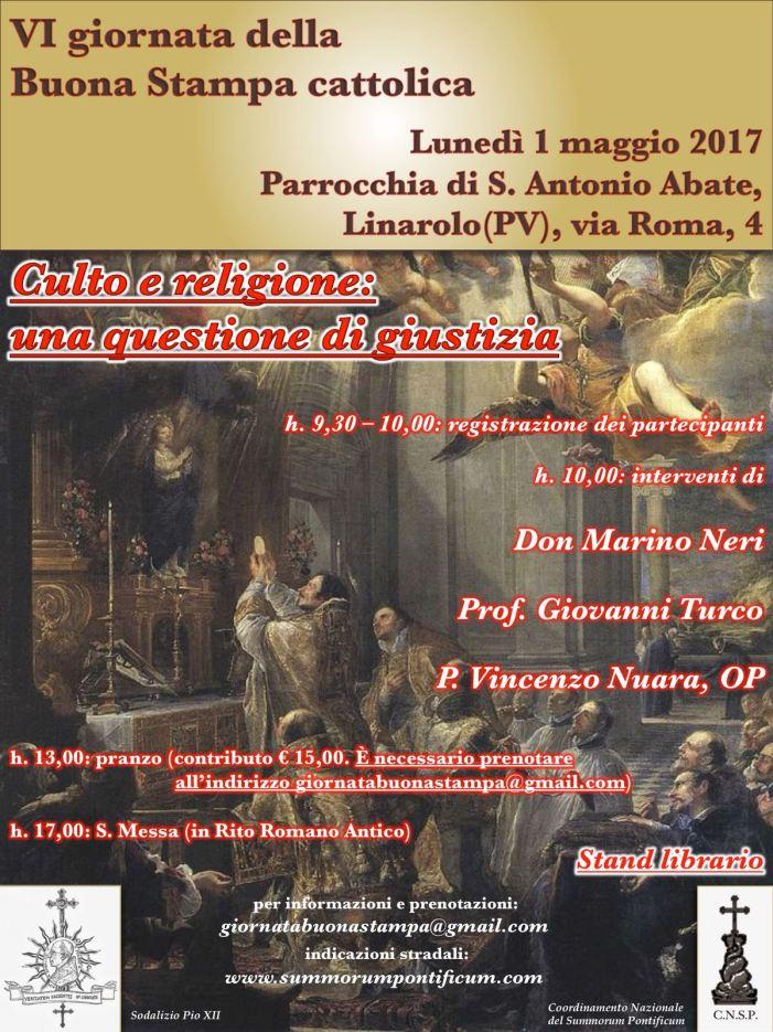 Ritorna a Linarolo il 1° maggio 2018 la buona stampa cattolica