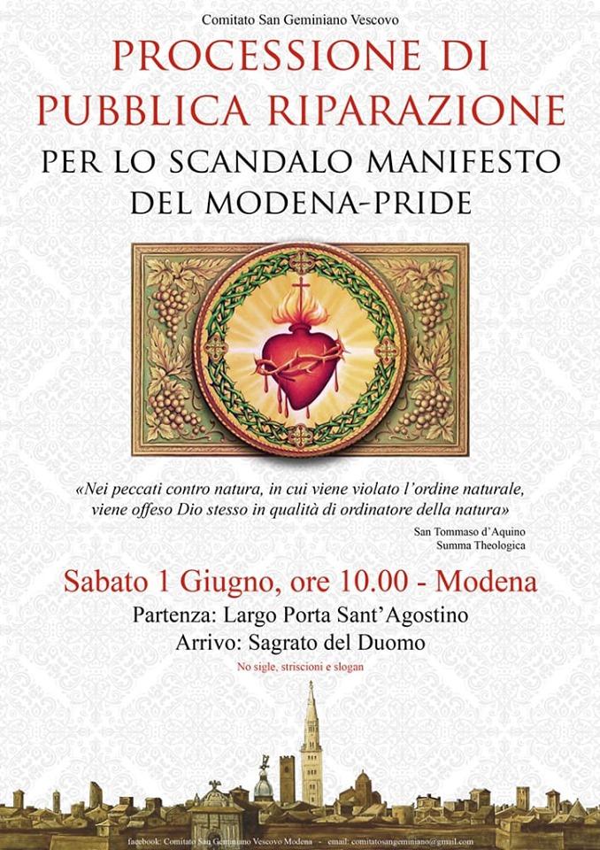 Verso la Processione Riparatrice di Modena: Comunicato Stampa ufficiale del Comitato 'San Geminiano Vescovo'