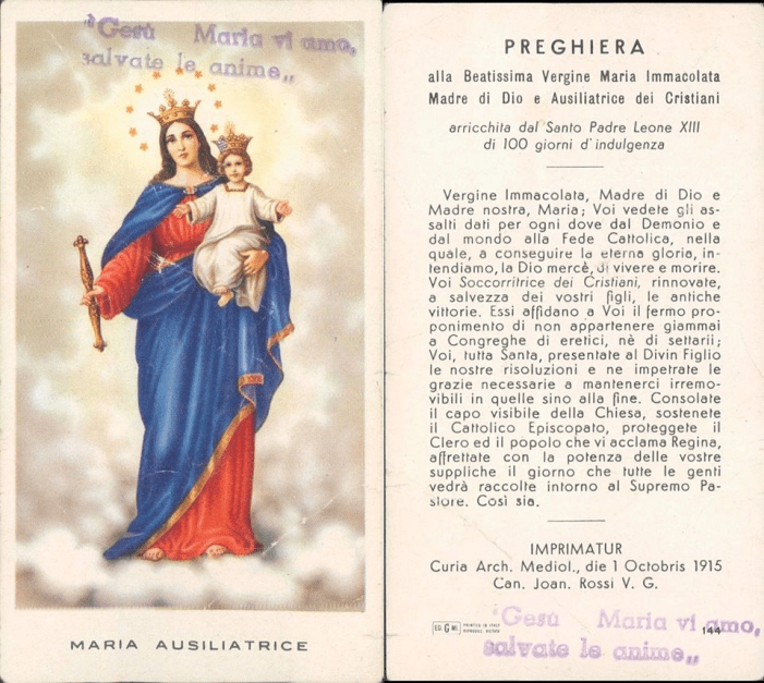 La Supplica a Maria Ausiliatrice (in un antico santino)