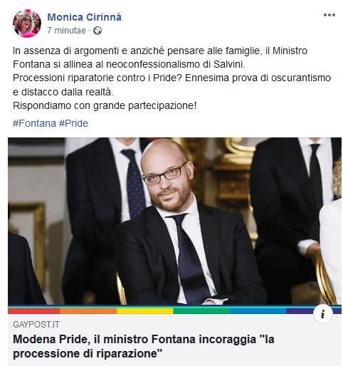 """Monica Cirinnà cita l'esclusiva di Radio Spada su processione e attacca Fontana: """"Oscurantismo"""""""