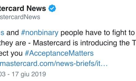 Mastercard per i trans: «Potranno scegliere nome, anche non quello sui documenti»
