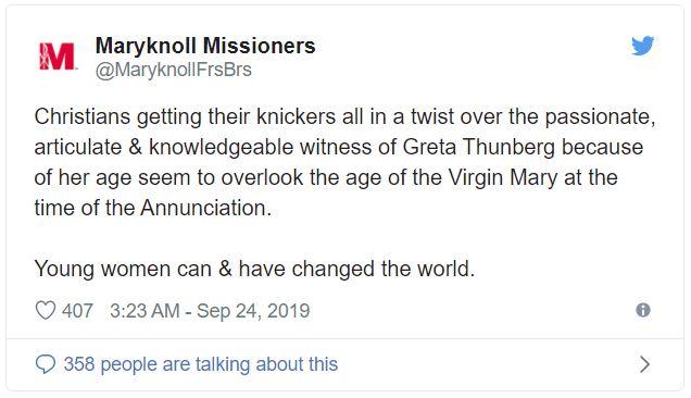 Missionari cattolici paragonano Greta alla Vergine Maria