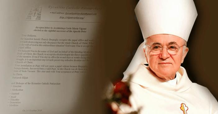 "Mons. Viganò ""eletto Papa"" (a sua insaputa) dal ""Patriarcato Cattolico Bizantino"". ""Anatema"" su Bergoglio"