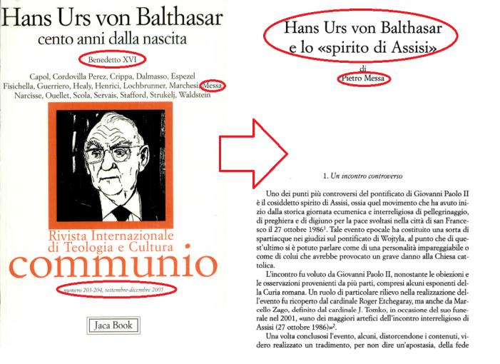 Von Balthasar: lodatore dell'ecumenismo di Assisi '86 e precursore (involontario?) del Sinodo di Pachamama