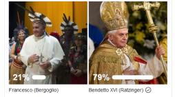 Esito del sondaggio-quiz su Benedetto XVI e Francesco. Il 79% dice Benedetto ed ha ragione: la frase è sua.