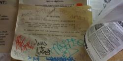 Anti-graffiti sign at college radio station KZSU. Photo: J Waits