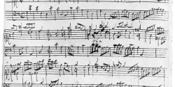 Bach manuscript for one of the French Suites.